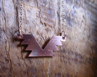 Tribal Native Southwestern Geometric Phoenix Necklace in Copper or Sterling Silver