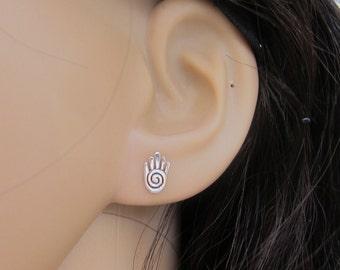 Tiny Sterling Silve Hamsa Hand Stud Earrings, Hamsa Jewelry, Cute Earrings,  Cartilage Earring