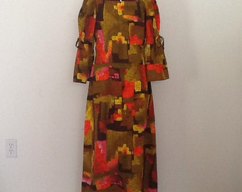 Vintage Hawaiian Bark Cloth Maxi Dress Sm