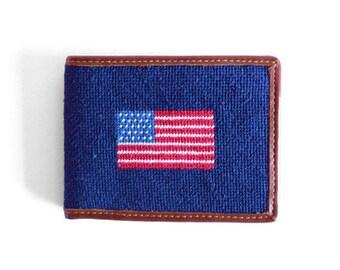 America Flag Needlepoint Wallet