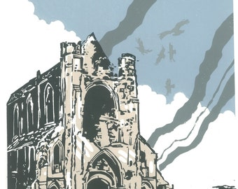 Abbey  d' Ardenne one of a collection of linocut prints celebrating the 70th D-Day landings anniversary in Normandy France.