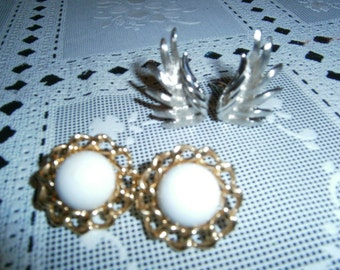 Signed Monet Earrings, 2 Pairs,Clip-ons, Vintage