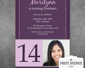 Purple Teen Girl Birthday Party Invitation with Photo - Printable