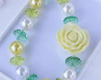 Yellowt Rose, Yellow Rose Necklace, Chunky Rose necklace,