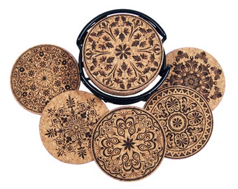 Vintage Design, Laser Etched Cork Coaster Set
