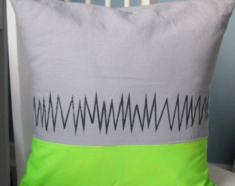 SALE 16x16 Green or Pink Zig Zag Neon Pillow
