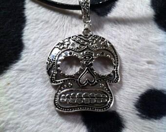 Sugar Skull Necklace - Silver Tone