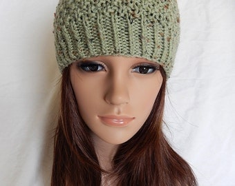 Knit Hat Beanie Handmade..Soft Green with Flecks (Ready to Ship)