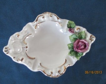 Vintage White Shabby Chic Ashtray With Porcelain Decorative Rose Shabby Chic Tobacciana Collectible Home Decor