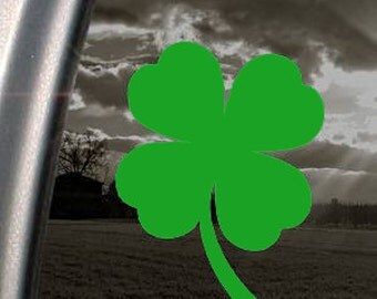 "Clover 4 Leaf Clover SHAMROCK 7"" Vinyl Decal Window Sticker for Car, Truck, Motorcycle, Laptop, Ipad, Window, Wall, ETC"