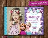 Frozen Invitation,Disney Frozen Photo Invitation, Frozen Birthday Party Invitation, Princess Invitation, FREE Thank You Card