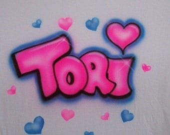 HEARTS w bubble letter name PERSONALIZED Airbrush T shirt personalized youth and adult sizes