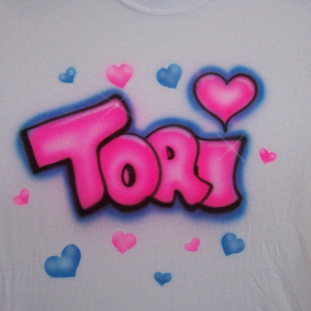 Uncategorized Bubble Letter Name hearts w bubble letter name personalized airbrush t shirt