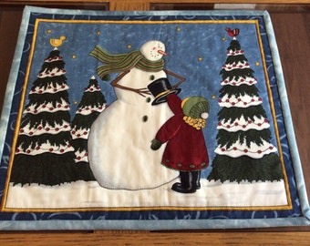 "Set of three 14"" x 12"" snowman placemats"