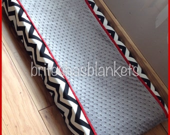Black chevron, red trim and grey minky dot changing pad cover