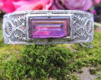 Lovely Art Deco Filigree Rhodium Purple Stone Bracelet