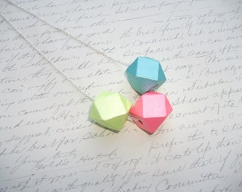 Long wood faceted pastel cubes necklace