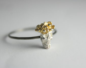 Sterling silver skull ring, skull ring, silver ring, statement ring, gold flower on skull ring, stacking, summer, jewelry, gift, spring