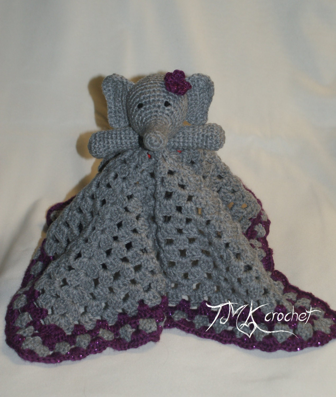 Crochet Elephant Lovey Blanket