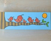 "ON HOLD for Amita- Original Pink Bird Painting on Canvas 12"" x 4"""