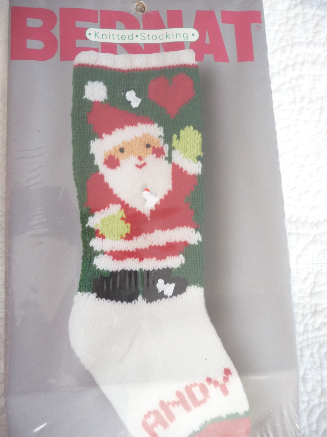 Vintage Christmas Stocking Knitting Pattern : ONE Vintage Knit Christmas Santa Stocking Pattern COPY from