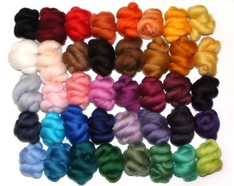 40 Colours x 10g (400g), Needle and Wet Felting Wool, Merino Wool Tops