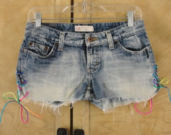 Hand made bleached distressed cut off BKE denim jean shorts low rise designer with side laces small 27  size 5