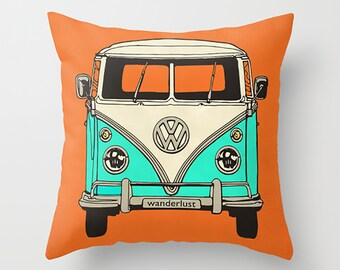 VW Pillow Cover Orange Pillow Minibus Pillow Wanderlust Pillow Decorative Pillow Throw Pillow Sofa Pillow