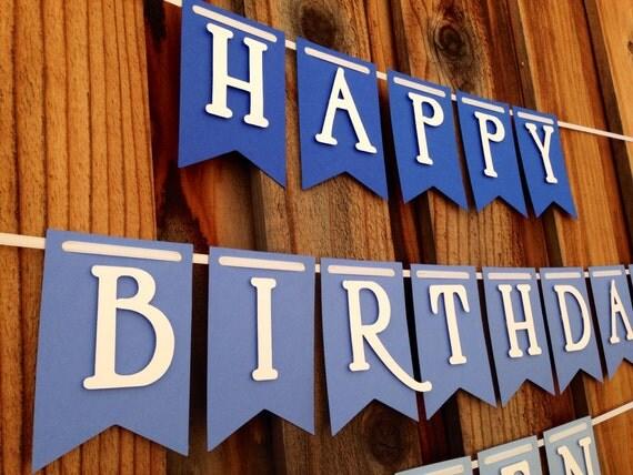 Blue Ombre Birthday Banner, Birthday Banner, Happy 1st Birthday,