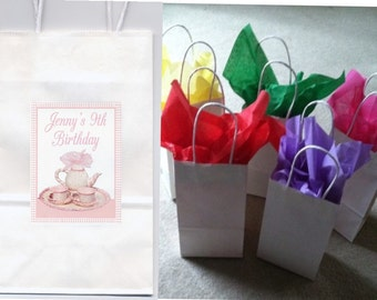 Tea Party party favor goody bags personalized set of 10
