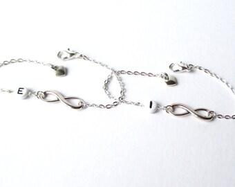 Best friends infinity bracelets - Friends forever - sisters gift set - Personalised infinity bracelet set