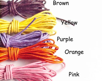1.5mm Waxed Cotton Orange / Brown / Yellow /  Pink / Purple 3 Metres