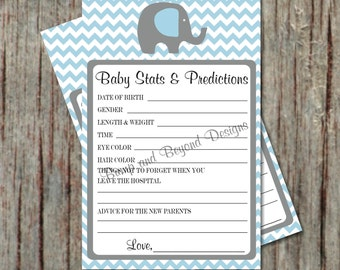 Baby Stats and Predictions for Baby, Baby Shower Game Advice Card Instant Download Printable PDF Elephant Powder Blue Grey Chevron Boy - 014