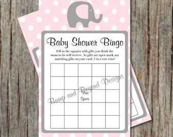 Baby Shower Games Bingo Card Game Powder Pink Grey Instant Download Shower Game Printable diy Bingo Game Elephant Baby Shower Game PDF - 006