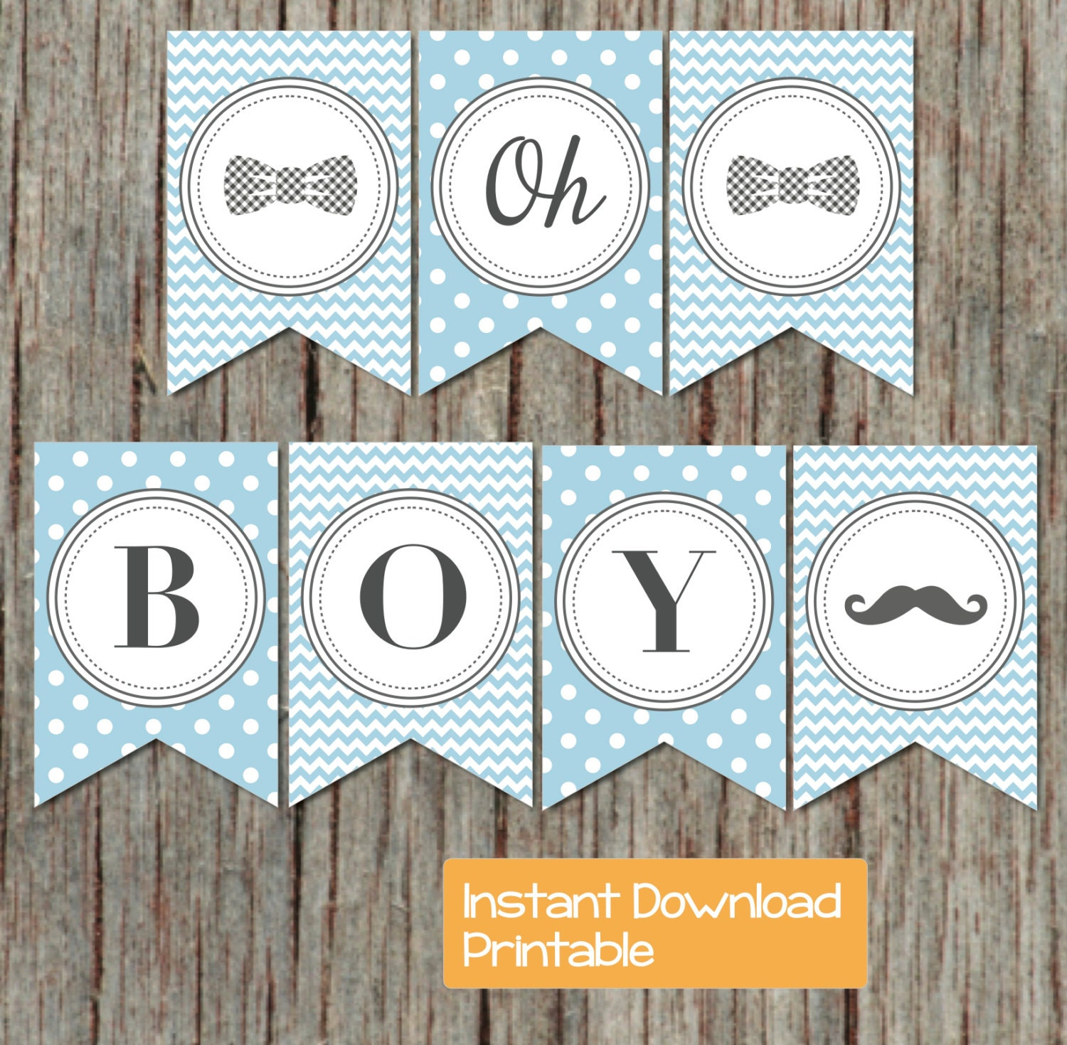 Boy oh boy printable baby shower banner powder blue grey for Baby shower decoration templates