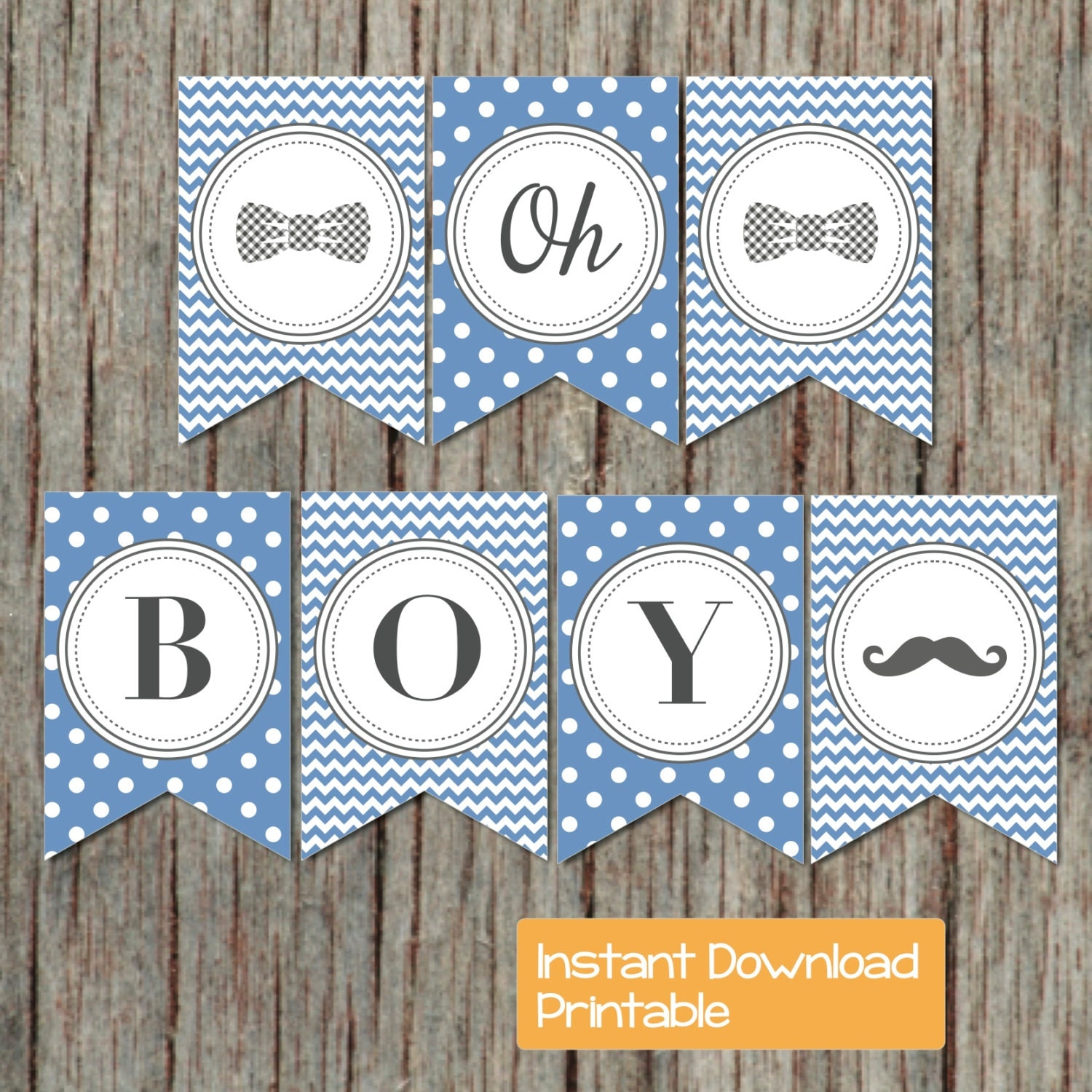 Baby Shower Banner Boy oh Boy Printable Little Man Party Ocean