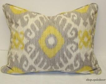 Dove Gray Ikat Pillow Cover, yellow, silver, cream linen ikat pillow, 16 x 20 lumbar pillow, decorative pillow, accent pillow, Ready to Ship