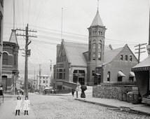 Newburgh City, New York,1906.Post Office and Second Sreet. Newburgh, N.Y art print.Newburgh photography.