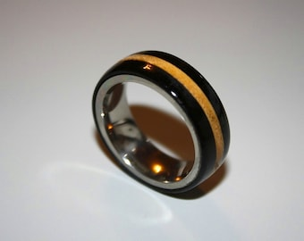 Mens wedding band, wood wedding band, Titanium wood ring, Ebony ring