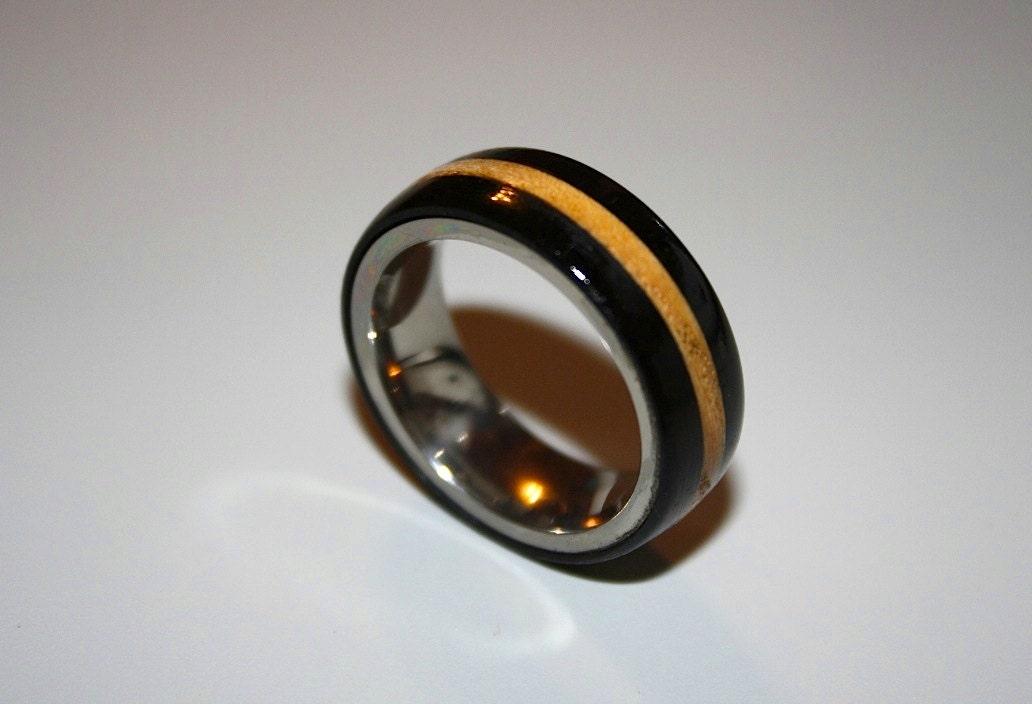 mens wedding band wood wedding band titanium wood ring. Black Bedroom Furniture Sets. Home Design Ideas
