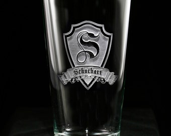 Pint Pub Beer Glass, Custom Engraved Personalized, M30 Design