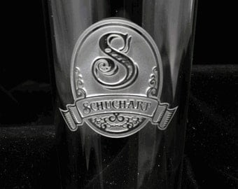 Beer Glass, Pint Pub Custom Engraved Personalized, M8 Design