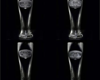 Cool Groomsmen Gifts, Engraved Best Man Pilsner Beer Glass, SET OF 2 (item # groompils)