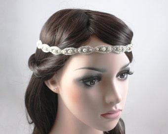 Best Seller - RAMONA - Vintage Inspired Crystal And Pearl Bridal Headband, Wedding Rhinestone Head band, Bridal Headpiece, Halo, Bohemian