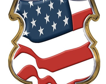 US Flag Police Shield 2 Inch Decal SKU: D1100-D2