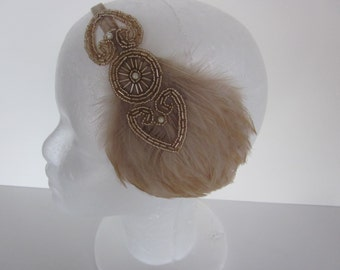 Champagne Headband, 1920s headpiece, gatsby headpiece Feather headband,  Fascinator Beige Feather Art Deco Headpiece Flapper Head piece
