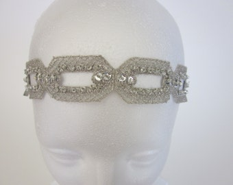 Silver 1920s Headband, Hair Accessories, flower girl Gatsby Headband for Flapper Dress, 1920s Headband for Gatsby Dress