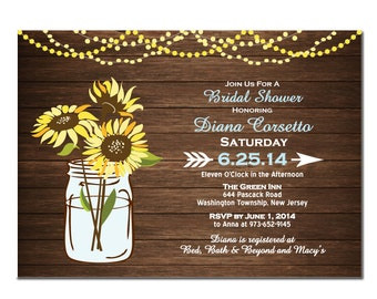 Wood Sunflower Bridal Shower Invitation DIY PRINTABLE Digital File or Print (extra) Bridal Shower Invitation Printable Wedding Shower Blue
