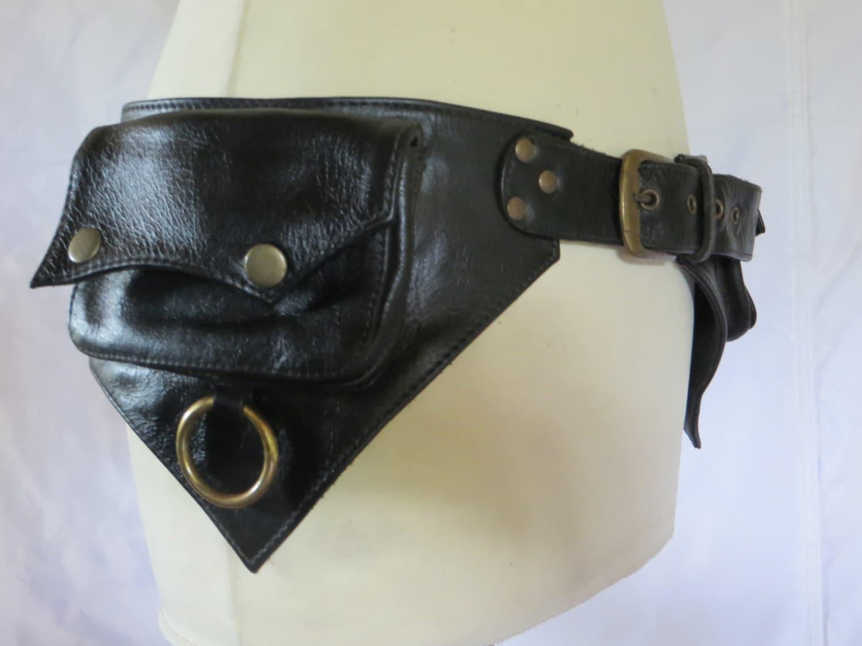 utility belt psytrance style in black leather ring model