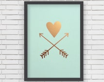 Metallic Gold Heart and Gold Arrows Print - 5x7 or 8x10